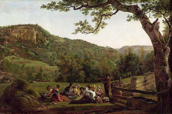 Haymakers Picnicking In A Field Painting