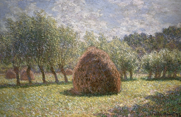 Impressionism;impressionist; Landscape; Field; Farm; Hay; Tree; Farming; Claude Monet Painting - Haystacks At Giverny by Claude Monet