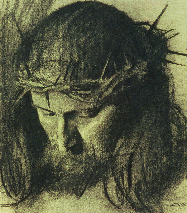 Head Of Christ Drawing - Head Of Christ by Franz Von Stuck