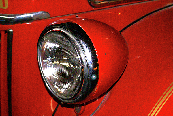 Headlamp Photograph - Headlamp On Red Firetruck by Douglas Barnett