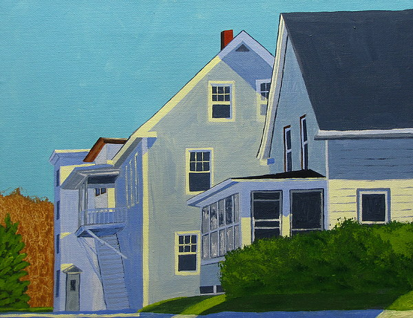Maine Painting - Hill Houses by Laurie Breton