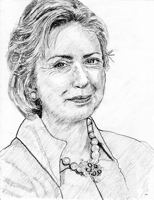 Hillary Clinton Drawing - Hillary Clinton Pencil Portrait by Rom Galicia