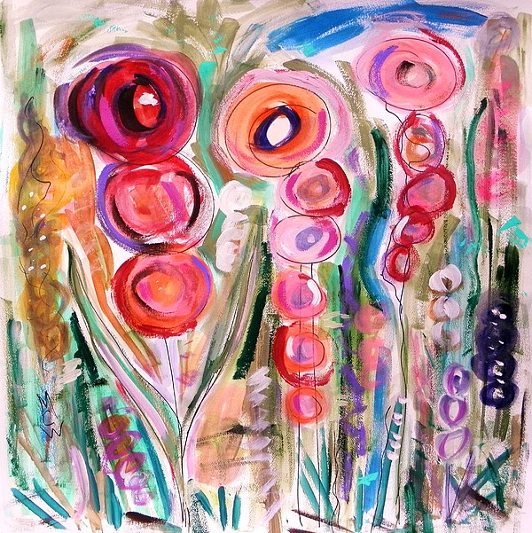 Floral Painting - Hollyhocks Of The Garden by Mary Carol Williams