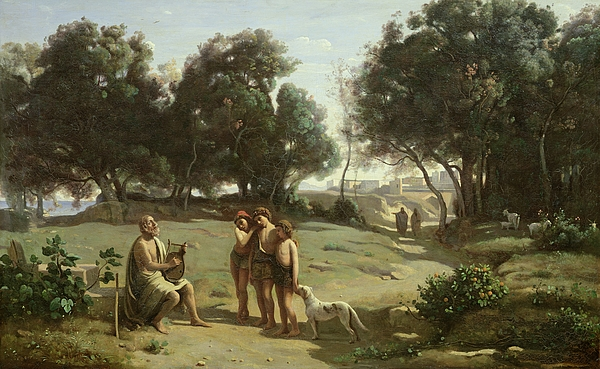 Homer Painting - Homer And The Shepherds In A Landscape by Jean Baptiste Camille Corot
