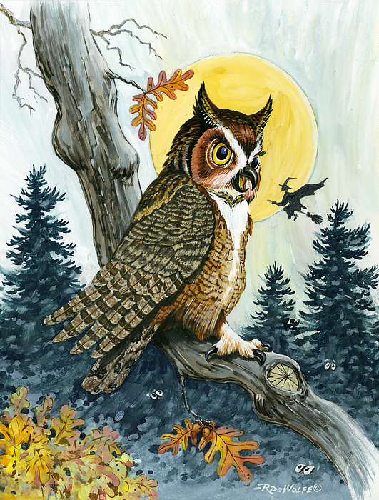 Great Horned Painting - Hooty Hoot by Richard De Wolfe