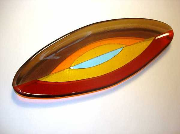 Oval Olive Boat With Nested Shapes In Warm Tones Glass Art - Hope Series - Oval Boat by Kristy Sly