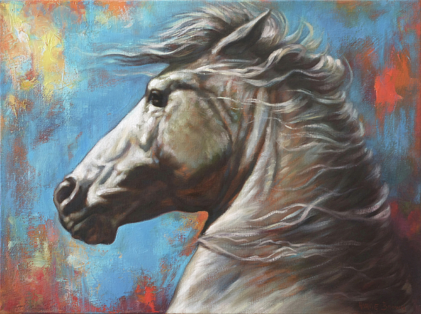 White Horse Painting - Horse Power by Harvie Brown