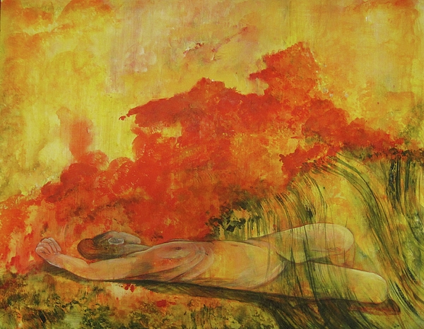 This Is A Painting Of A Nude Woman Reclining In The Grass And Experiencing A Hot Flash.  Abstracted Conceptual Rendering In Hues Of Red Painting - Hot Flash by Georgia Annwell
