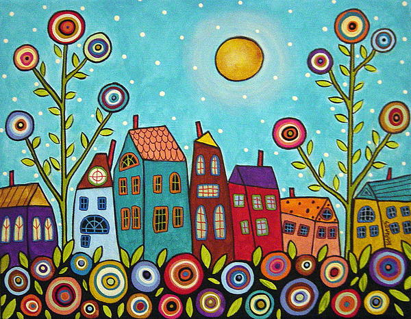 Landscape Painting - Houses Blooms And A Moon by Karla Gerard