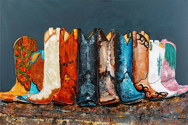 Cowboy Boots Painting - How The West Was Really Won by Frances Marino