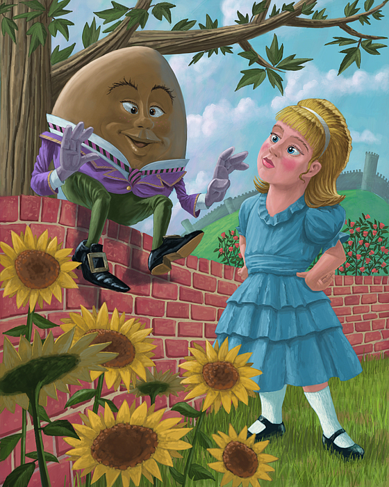 Humpty Dumpty On Wall With Alice Painting
