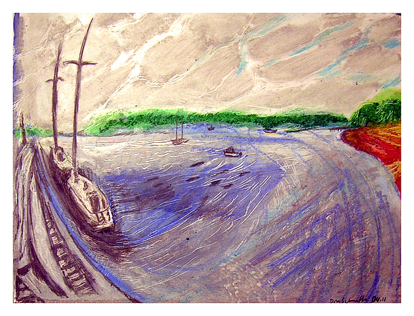 Sailboats Drawing - Huntington Town Pier by Don Schaeffer