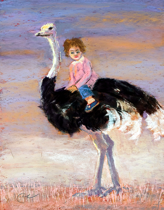 Child Riding Ostrich Child's Bedroom Picture Storybook Fantasy Cute Painting - I Love My Very Own Ostrich by Cheryl Whitehall