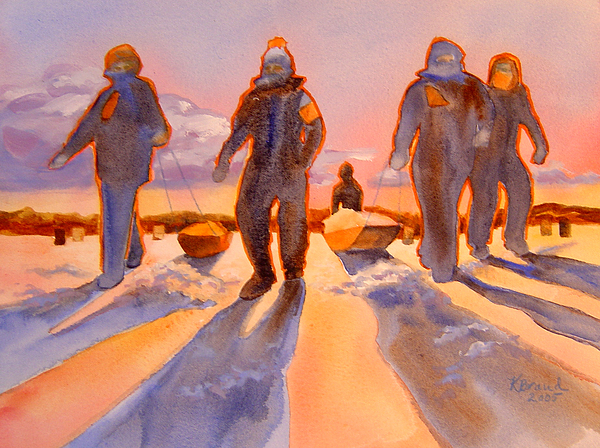 Paintings Painting - Ice Men Come Home by Kathy Braud