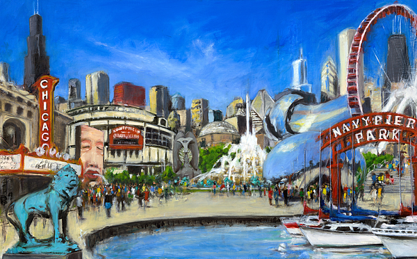 Robert Painting - Impressions Of Chicago by Robert Reeves