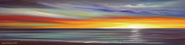 Sunset Painting - In The Moment Panoramic Sunset by Gina De Gorna