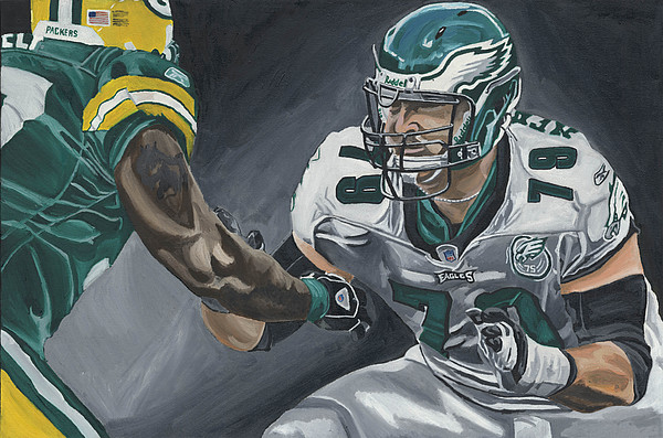 Todd Herremans Philedelphia Eagles In The Trenches David Courson Sports Painting Painting - In The Trenches by David Courson
