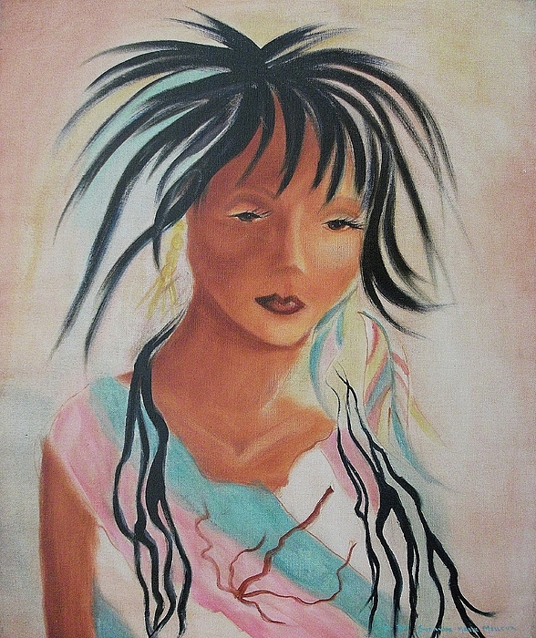 Indian Painting - Indian Girl by Suzanne  Marie Leclair