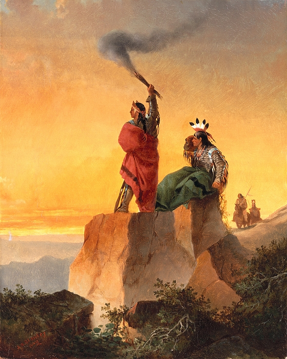 Indian Painting - Indian Telegraph by John Mix Stanley