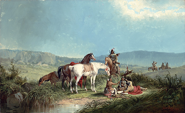 Indians Playing Cards Painting