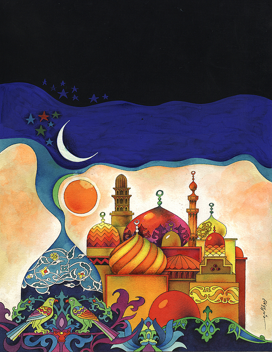 Inspiration of the arabian nights painting by mohamed abotalib for Mural inspiration