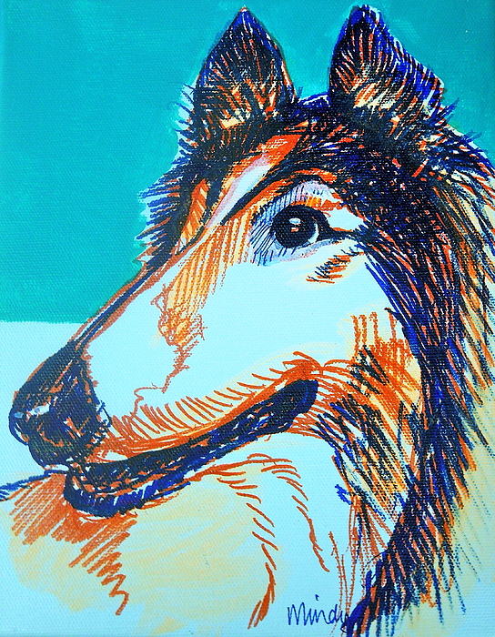 Collie Painting - Interested Collie by Melinda Page
