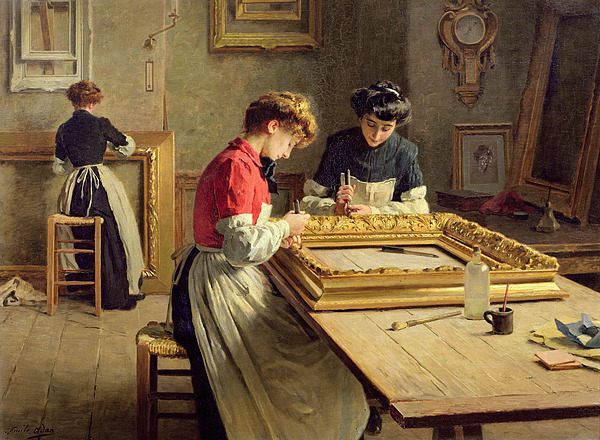 Interior Painting - Interior Of A Frame Gilding Workshop by Louis Emile Adan