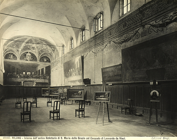Wall; Fresco; Ecclesistical Interior; Vaulted Ceiling; Da Vinci; Refectory; Convent Painting - Interior Of The Dining Hall Of The Church Of Santa Maria Delle Grazie Milan by Alinari