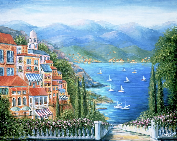 Italian Village By The Sea Painting