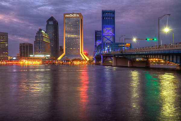 Clouds Photograph - Jacksonville At Dusk by Debra and Dave Vanderlaan