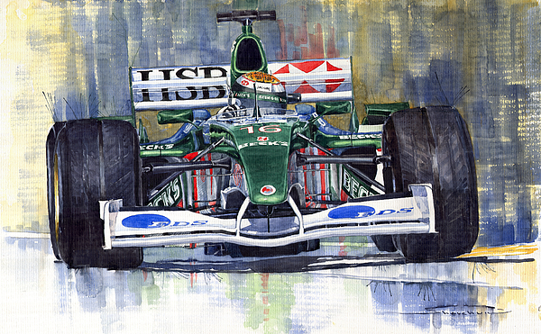 Watercolour Painting - Jaguar R3 Cosworth F1 2002 Eddie Irvine by Yuriy  Shevchuk