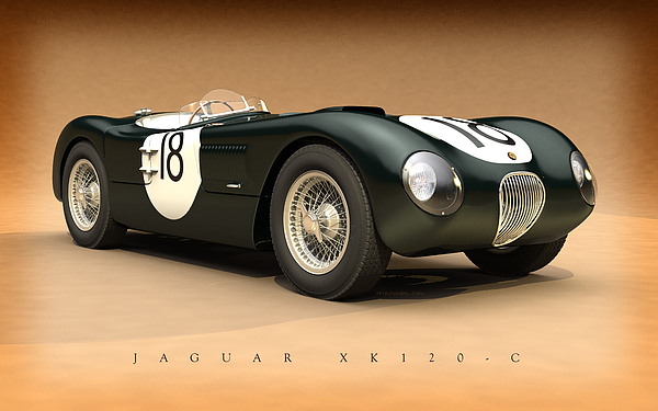24 Hours Of Le Mans Digital Art - Jaguar Xk120-c by Pete Chadwell