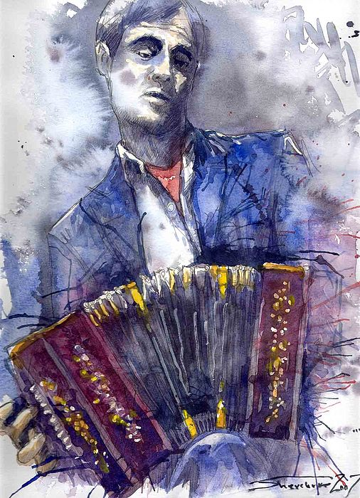 Jazz Concertina Player Painting
