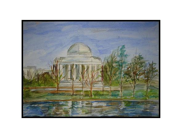 Architectural Landcape Painting Painting - Jefferson Memorial by Angela Puglisi
