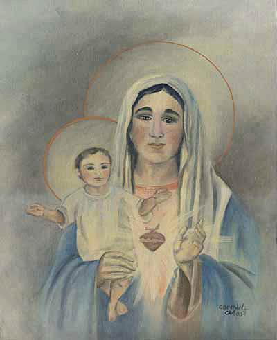 Oil Canvas Religious Art Original Painting Mother And Child Jesus Mary Blessed Mother Baby Messiah Lord Jesus Christ Virgin United Hearts Infant Italy Italian Heavenly Heaven God Savior Catholic Art Cecilia Brendel Print  Painting - Jesus And Mary by Cecilia Brendel