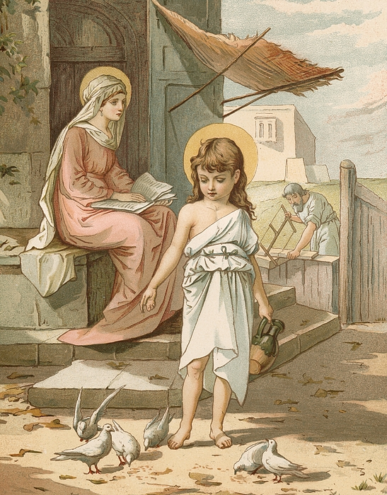 Bible; Jesus; Child; Boy; Playing; Doves; Birds; Joseph; Work; Carpenter; Carpentry; Virgin Mary; Reading; Yard; Feeding; Sentimental; Sentimentality Painting - Jesus As A Boy Playing With Doves by John Lawson