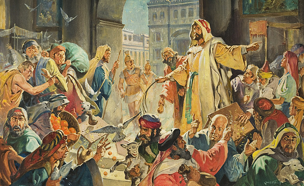 Jesus Removing The Money Lenders From The Temple Painting
