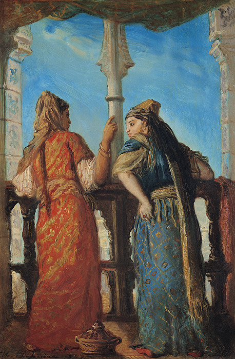 Jewish Painting - Jewish Women At The Balcony In Algiers by Theodore Chasseriau