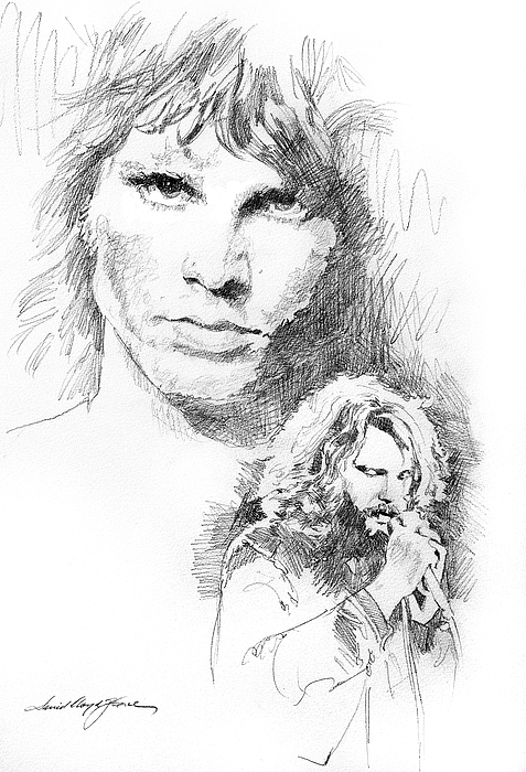 Pencil Drawing - Jim Morrison Faces by David Lloyd Glover