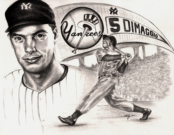 Dimaggio Drawing - Joe Dimaggio by Kathleen Kelly Thompson