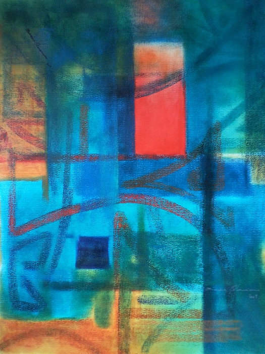 Green Blue Red Abstracts Orange Painting - Jungle Heive by Benedict Olorunnisomo