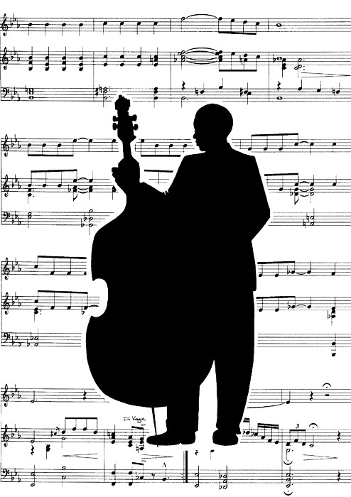 Art Deco Painting - Just Jazz - Double Bass by Di Kaye