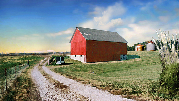 Barn Painting - Kansas Landscape II by Steve Karol