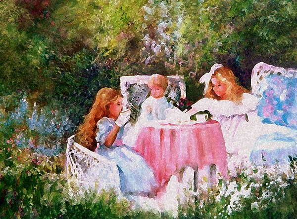 Girls Painting - Kimbers Tea Party by Sally Seago