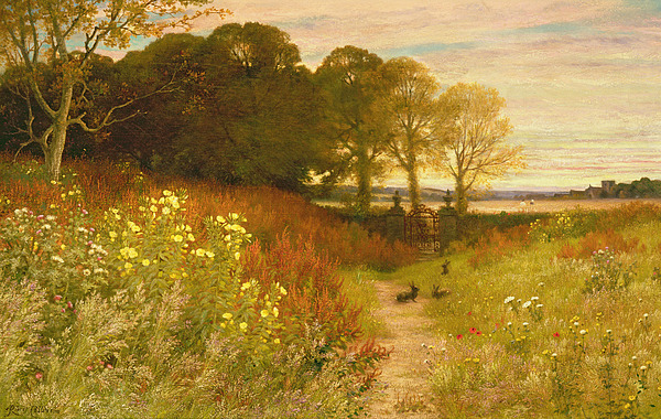 Landscape Painting - Landscape With Wild Flowers And Rabbits by Robert Collinson