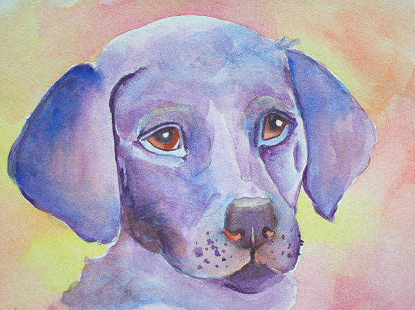 Abstract Dog Paintings Painting - Lavendar Lab by Deb Magelssen