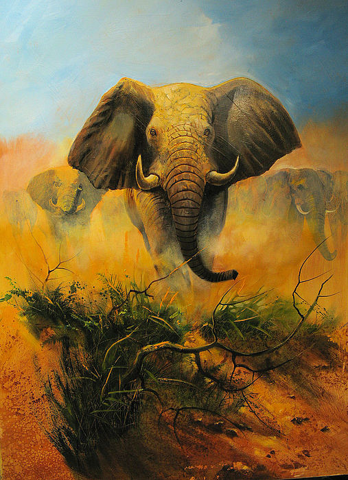 Elephant Painting - Leader by Robert Carver