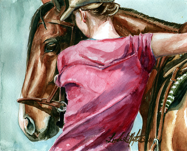 Wild Horse Painting - Lean On Me by Linda L Martin