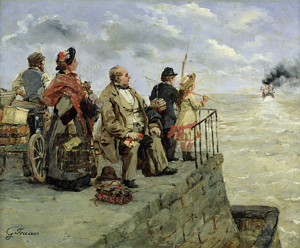Leaving Painting - Leaving For Jersey  by Guillaume Romain Fouace