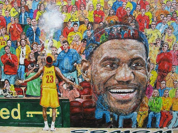 Lebron James Cleveland Cavaliers Basketball Nba Painting - Lebron by David Hipwell